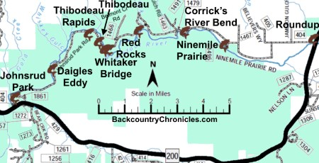 blackfoot river fishing access inset map missoula county