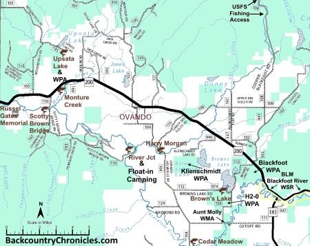 blackfoot river fishing access map powell county