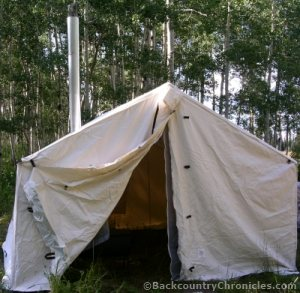 canvas wall tent with stove