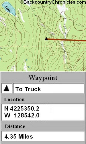 screen shot of gps map and waypoint