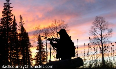 elk hunter silhouette in Utah mountains