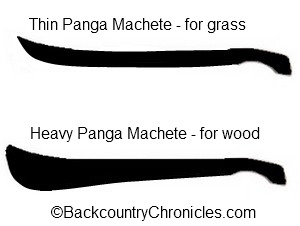 panga style machetes for cutting grass or for cutting wood